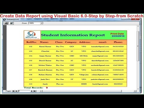 Visual Basic tutorial-Data Report using Data Environment (Print and Export report)-Step by Step