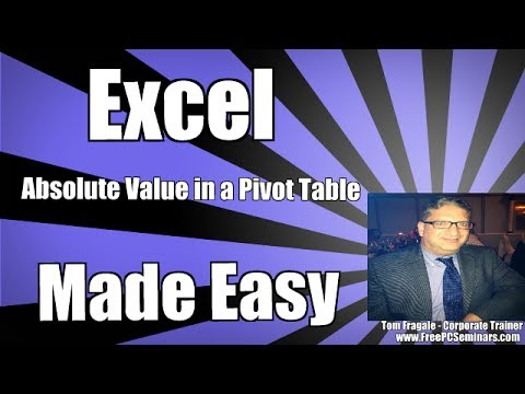 How to calculate an absolute value in a pivot table Microsoft Excel 2007, 2010, 2013, 2016 tutorial