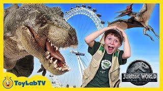 Download Giant Dinosaurs in London for Jurassic World Fallen Kingdom Movie Adventure & T-Rex Dinosaur Toys Video