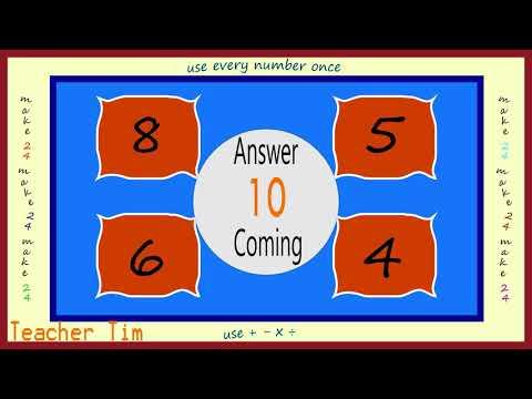 Teacher Tim Brainteaser - make 24 game 2 star difficulty (harder) volume 1