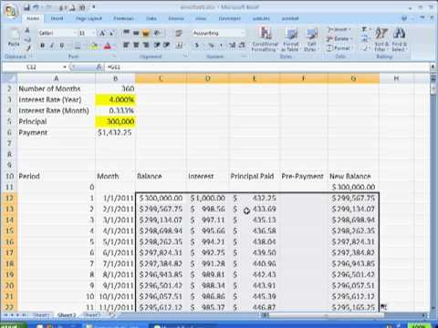 Create an Amortization Table with a Pre-Payment Option