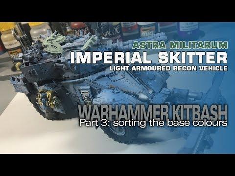 Warhammer 40K Imperial Skitter (AML-90 Kitbash) 3: Base Colours & Chipping
