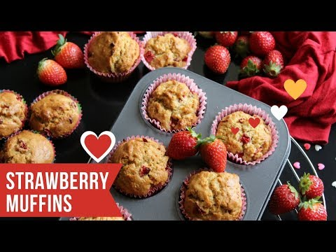 Homemade Strawberry Muffins Video - Valentines Day Special | SweetTreats