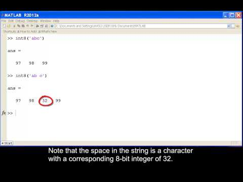 Using the int8 and char functions in MATLAB.