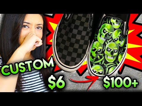 BALLIN ON A BUDGET | VANS SUPREME SKULL PILE CUSTOM FROM $6 SHOES! + THRIFT TRIP