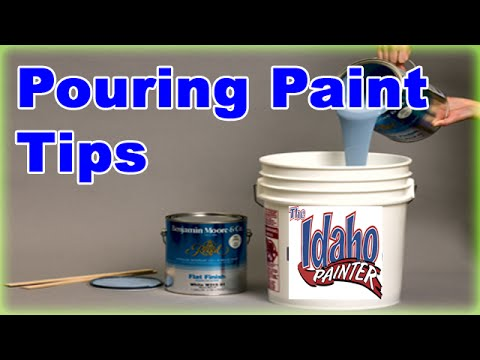 Pouring paint out of a 5 gallon bucket.  No mess tip.  Paint bucket hacks.