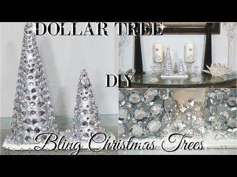 DIY DOLLAR TREE GLAM CHRISTMAS TREES | DOLLAR STORE DIY ROOM DECOR | DIY HOME DECOR CRAFT IDEAS