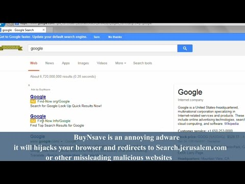 How to remove BuyNSave virus and search.jerusalem.com redirect