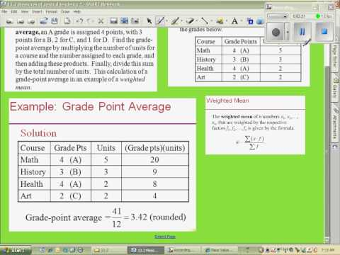 Calculating a GPA (weighted mean)