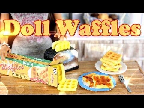 DIY - How to Make Doll Food:  Waffles - Handmade - Doll - Breakfast - Crafts