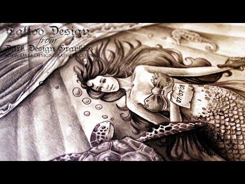 Half Sleeve Mermaid Tattoo Design ~ Dark Design Graphics