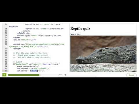 Processing a quiz with jQuery | Computer Programming | Khan Academy