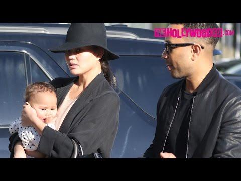 John Legend & Chrissy Teigen Take Baby Luna Out For Lunch At Au Fudge Restaurant 1.16.17
