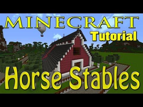 MINECRAFT: EASY BARN TUTORIAL (HORSE STABLES) (DESIGN 2)