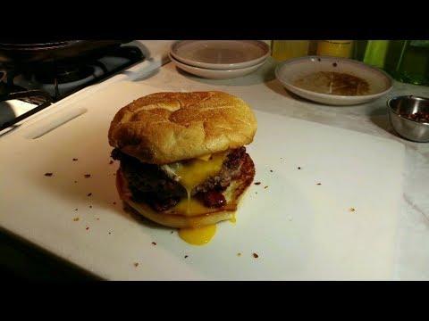Breakfast Burger ~ Taylor HamBurger Bacon Egg and Cheese ~ V R to B C