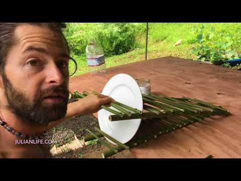 Making a hanging bamboo drying rack
