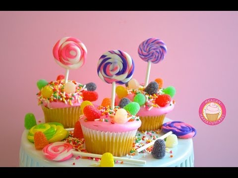 CANDYLAND CUPCAKES!!!How to Make Candyland Swirled Lollipop Cupcakes