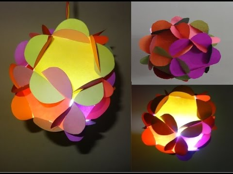 Paper Crafts(Home Decoration Ideas): 3D Paper Flower Ball/Lantern : Christmas Decor