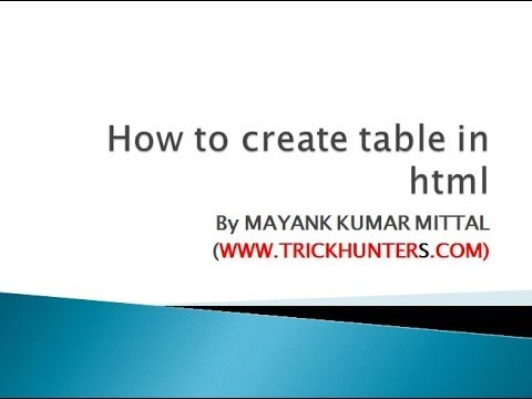 how to create table in html tutorial