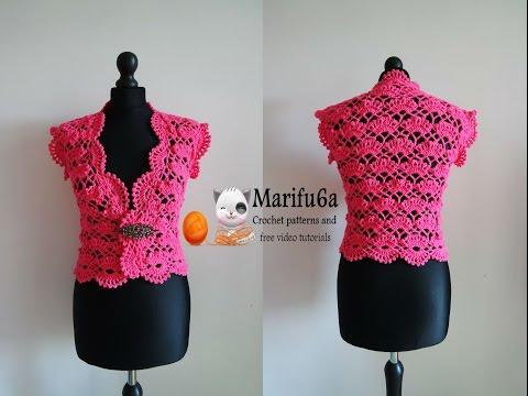 How to crochet elegant bolero  chaleco shrug free tutorial pattern subtítulos en español