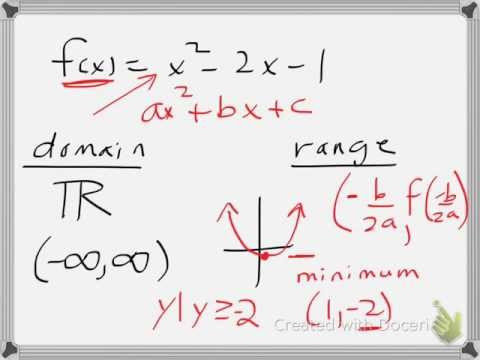Finding domain/range of a quadratic function example 1
