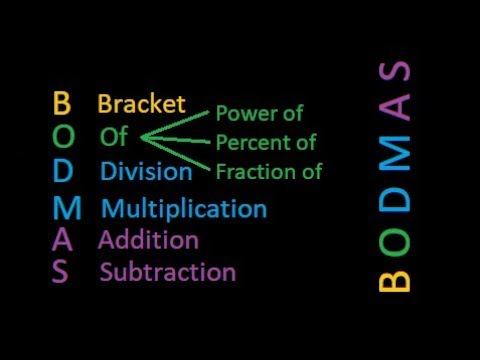 Bodmas the order in which calculations are done