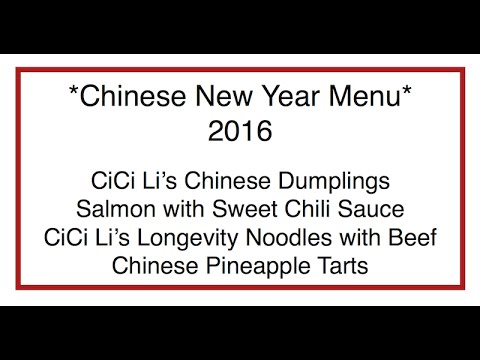 Chinese New Year Menu for 2016