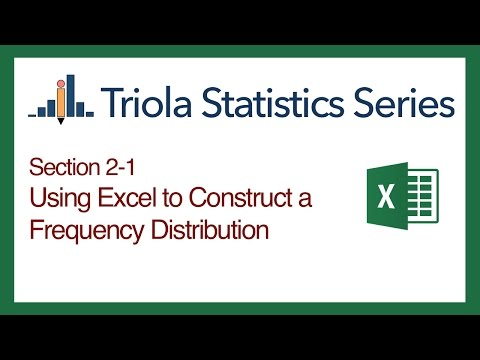 Excel Section 2-1: Using Excel to Construct a Frequency Distribution