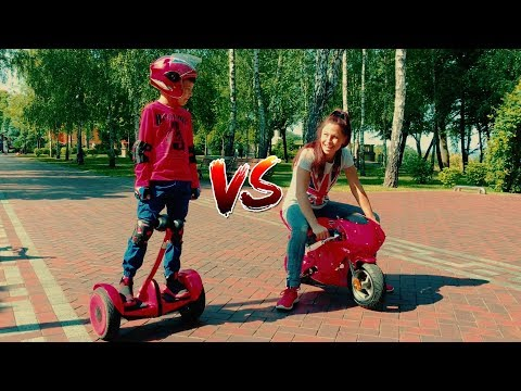 Funny Race for Kids - SPORT BIKE vs Mini NINEBOT! Video in summer park for children