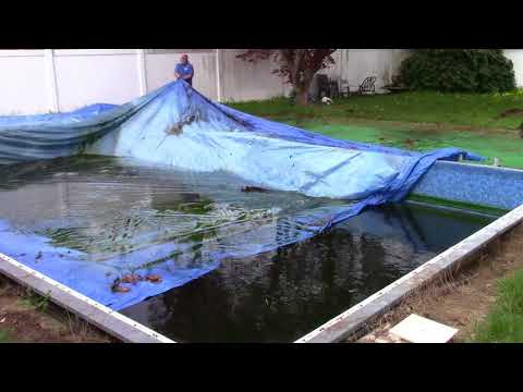Pool Opening 2018, Part 1 - Removing The Leaf Nets And Cover