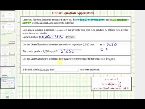 Ex: Write a Linear Equation Given Fixed and Variable Costs