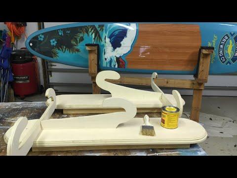 Building surfboard display racks , wood staining