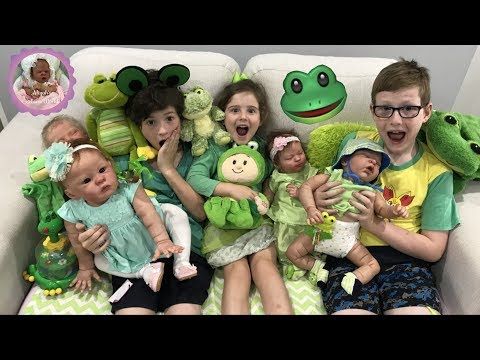 PLAYING WITH OUR REBORNS - for Theme Thursday - FROGS!!