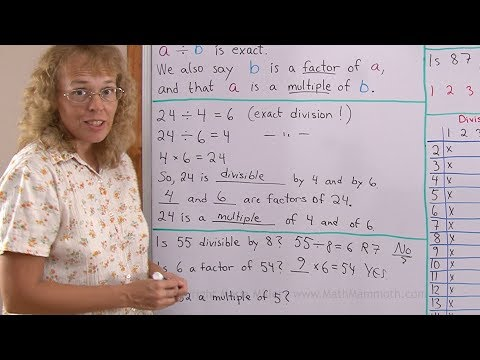 Learn the terms factor, multiple, and divisible