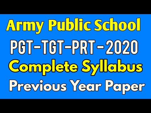 Army school PGT-TGT Complete syllabus, Army public school previous year paper, Govt Jobs for Teacher
