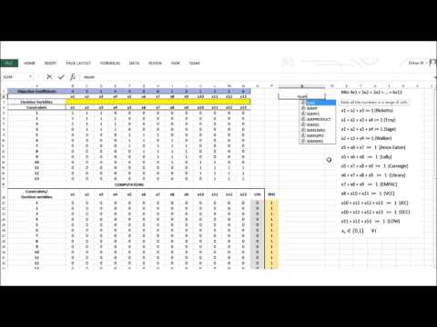 Using Excel Solver to Solve a Given Mathematical Model