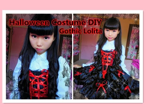 DIY Kawaii - How to restyle your old clothes to Gothic lolita dress for halloween/school