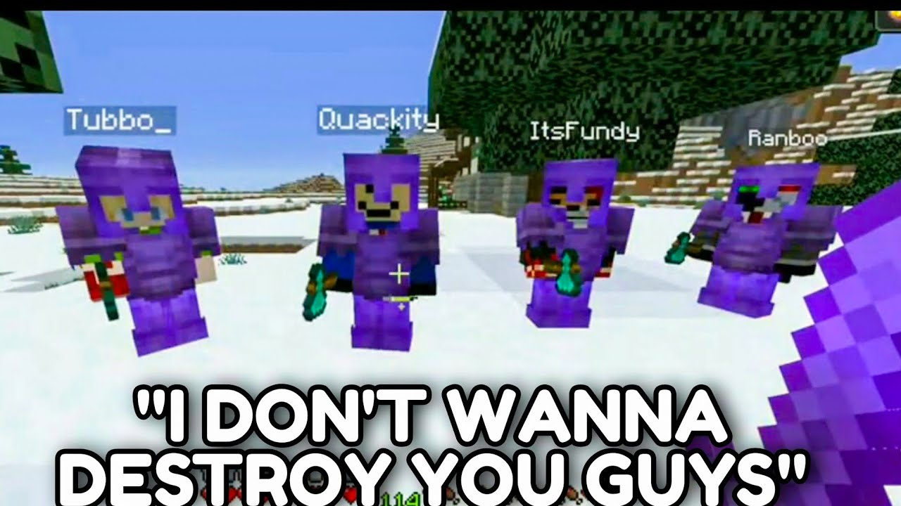 Technoblade Does Crazy 1v4 Against TUBBO QUACKITY RANBOO & FUNDY DREAM SMP