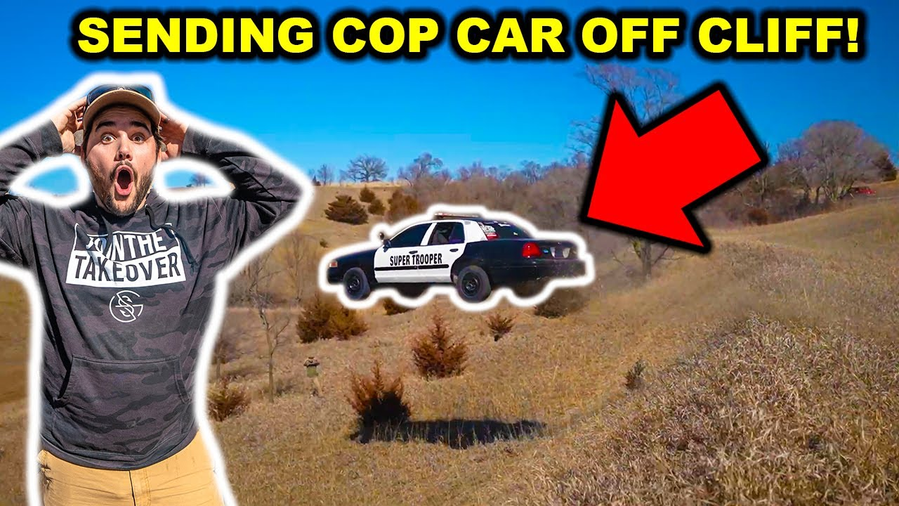 Driving My STOLEN POLICE Car OFF a CLIFF in My BACKYARD!!!
