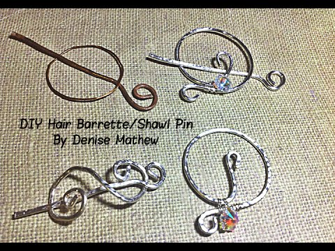 DIY Hammered Wire Hair Barrette or Shawl Pin by Denise Mathew