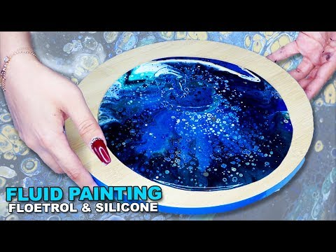 Fluid Acrylic Pouring Tutorial - FLOETROL & SILICONE BLUE