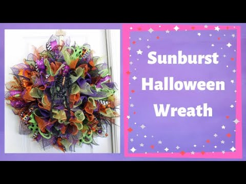 How to make a deco mesh sunburst wreath Halloween style