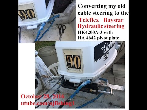 a closeup look - Teleflex Baystar Hydraulic steering system (how it turns the outboard motor)