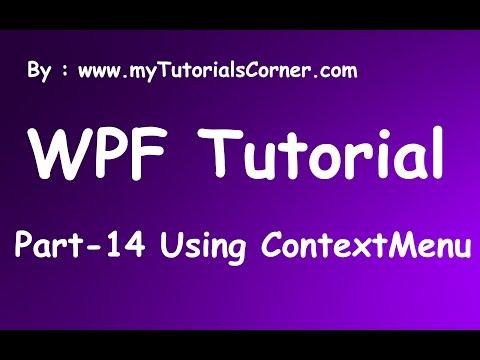 Part 14 ContextMenu in WPF