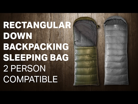 RECTANGULAR DOWN BACKPACKING SLEEPING BAG - 2 PERSON COMPATIBLE