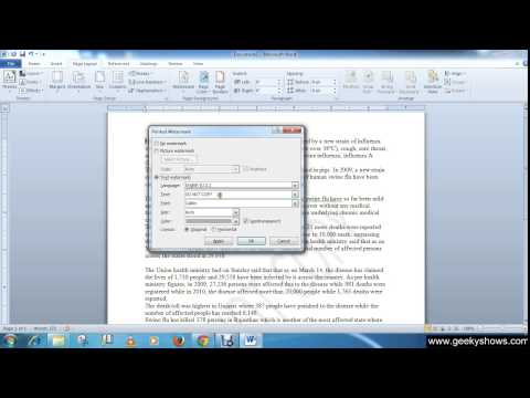 Microsoft Office Word 2010 Add Text or Picture Watermark to the Page