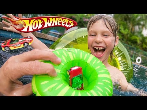 Hot Wheels Cars Pool Floaty Trick Shots!