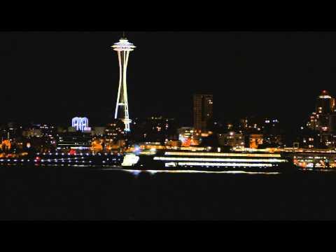 Seattle/Bainbridge Island Ferry Needle night view from Alki Ave SW