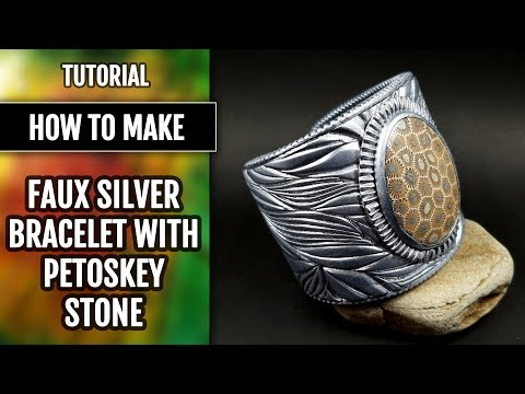 How to make: Faux Silver Bracelet with Petoskey Stone from polymer clay.