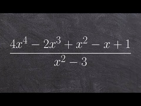 Learn how to divide polynomials using long division with a quadratic divisor